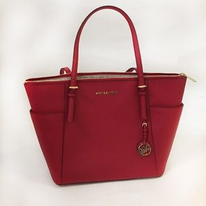 Michael Kors Red Top Zip Tote With Side Pockets